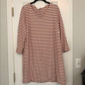 J crew red and white striped dress